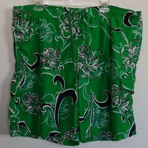 Men's L Speedo Green Hawaiian Swim Trunks Shorts